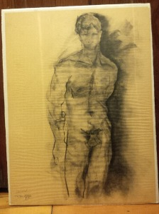 Male nude, conte on newsprint, Carson 1988